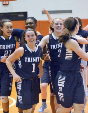 Led by senior point guard Annie McKenna (#1), Trinity has rebounded well from slow start. The Blazers (8-3) are on a four-game winning streak. (File photo)