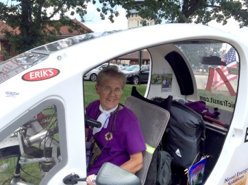 Hanna Elshoff pedaled into Riverside in July during her quest to get to Georgia for Jimmy Carter's autograph. She'll continue her quest in 2016. Bob Uphues/Staff