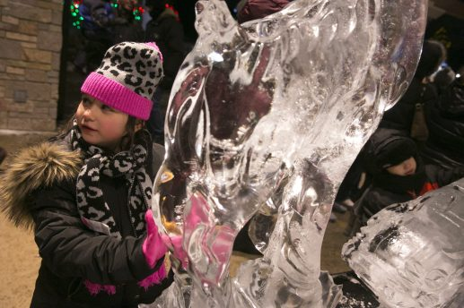 Masion Bergthold, age 8, of Hometown Illinois, gets close to a ice carving sculpture during New Years Eve at the Brookfield Zoo.   Rick Majewski/Contributor