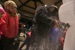 Kids at the Brookfield Zoo on New Years Eve watch closely at the details being placed on an ice sculpture during a demonstration.   Rick Majewski/Contributor