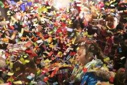 A mix of confetti and bubbles to help celebrate the coming of 2016 at the Brookfield Zoo on New Years Eve.   Rick Majewski/Contributor
