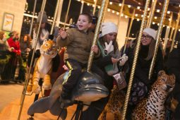 Zach Saken, age 4, of Elmherst, rides the merry-go-round at the Brookfield Zoo on New Years Eve.   Rick Majewski/Contributor