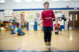 Brook Park student Matt Elzy sets a class record, jumping rope for 2 minutes during the school's Jump Rope for Heart fundraiser on Feb. 19. | William Camargo/Staff Photographer