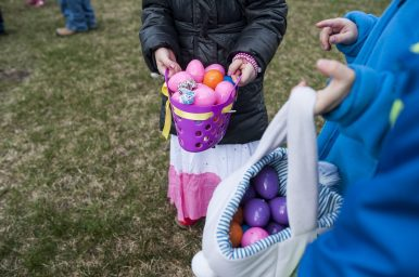 Children hold their eggs in baskets during the Brookfield Chamber of Commerce's annual Easter Egg Hunt. | William Camargo/Staff Photographer