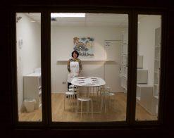 Kathleen Thometz in her Doodle Art & Design Art Studio in Western Springs