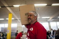 Bill Kanatas of Feed 6 carries a box full of meals in LaGrange Park, Illinois on Sunday April 10, 2016.   William Camargo/Staff Photographer