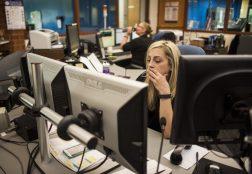 Jennifer Gallion working at the North Riverside dispatch center. | William Camargo/Staff Photographer