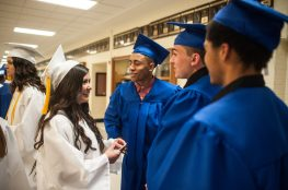 Selene Anaya chats with Amir K. Alvarado and Mattia Amodio before Riverside Brookfield's high school graduation. | William Camargo/Staff Photographer