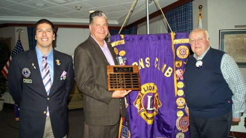 Dave Moravecek (center) is congratulated by Riverside Lions Club President Alex Gallegos (left) and club member Jack Wiaduck on receiving the Bill Jansky Distinguished Citizen Award.   Provided