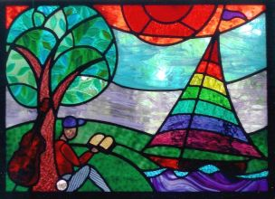 The Hauser PTO raised money to fund a stained-glass window in memory of Beau Benoy for the school. It depicts Beau surrounded by the things he loved. | Provided