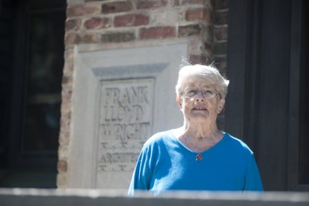 Brookfield resident Peg Zak resident was honored recently for her 40 years of volunteer service to the Frank Lloyd Wright Trust, formed initially to save the famous architect's Oak Park home and studio. William Camargo/Staff Photographer