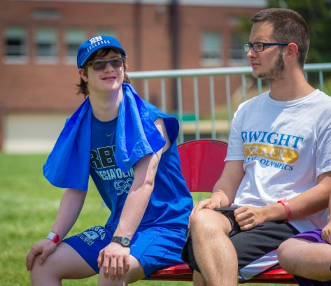 RBHS Special Olympian Shawn Spera enjoys a break on the sidelines. (Photo by Vytas Cuplinskas)