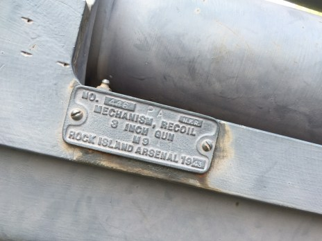 """The tag on the gun barrel identifies the cannon as a 3-inch """"M9"""" gun. The piece actually appears to be an M5 anti-tank gun manufactured in 1943. The gun replaced the original World War I-era artillery piece, which was melted down for scrap in 1942. 