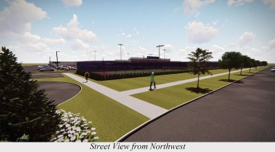 The Riverside-Brookfield High School board has released two renderings showing what their proposed 63-spot parking lot would look like, if built. This is the view looking southeast. (Provided)