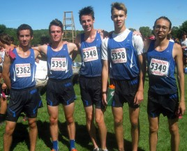 Jacob Wardzala (left), Connor O'Brien, Jason Noel, Jack Sagan and Mateo Nunez were the top-five finishers for the Riverside-Brookfield boys cross country team, which took fifth of 58 teams in the 2A boys race at the First to the Finish Invitational Saturday. (Photo by Bill Stone)