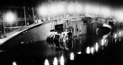 Rescue efforts continued into the night with spotlights illuminating the scene. | Courtesy of Eastland Disaster Historical Society