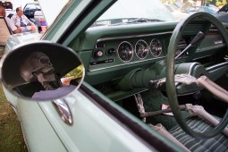 A halloween skeleton on display inside the driver seat of a classic car at the Riverside annual car show in Centennial Park. | Sebastian Hidalgo/Contributor