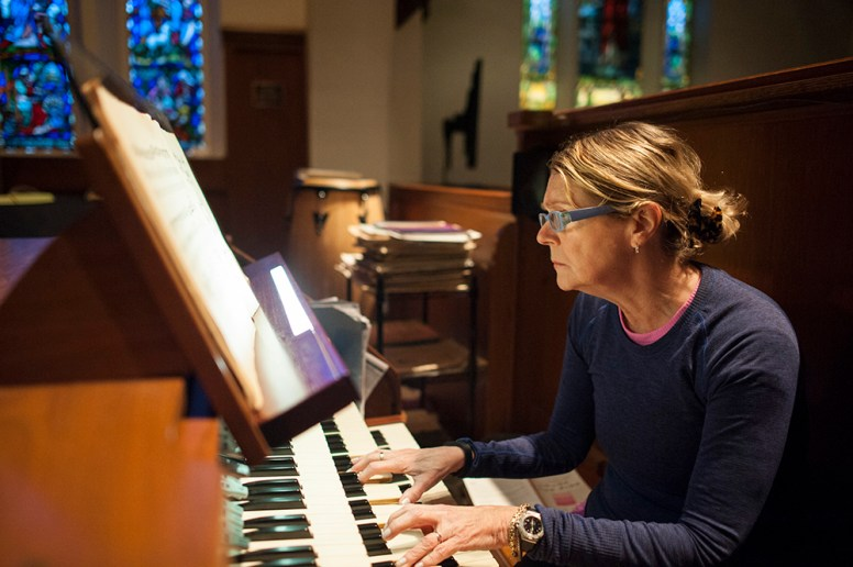 Riverside Presbyterian Church organist Sally Sloane gives the newly refurbished organ a workout in preparation for the Oct. 30 rededication concert. | William Camargo/Staff Photographer