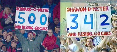 Now and then: David Cihla with his Schwarb-O-Meter in Cleveland (left) and with the original Shawon-O-Meter more than 20 years ago.   Provided