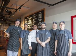 Among those who make things hum at Sawmilly are (from left) sandwich artists Johnnathen Paredes and Chris McCullough, managers Kristopher Santin and Nicholas Rampson, sandwich artist Charles Queen and manager Michael Keim. | William Camargo/Staff Photographer