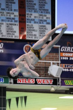 LTHS senior diver Seamus Scotty is a perennial contender to win a state title in diving. in 2016, he placed fifth in the state with a score of 149.75. (Photo by Patrick Gorski)