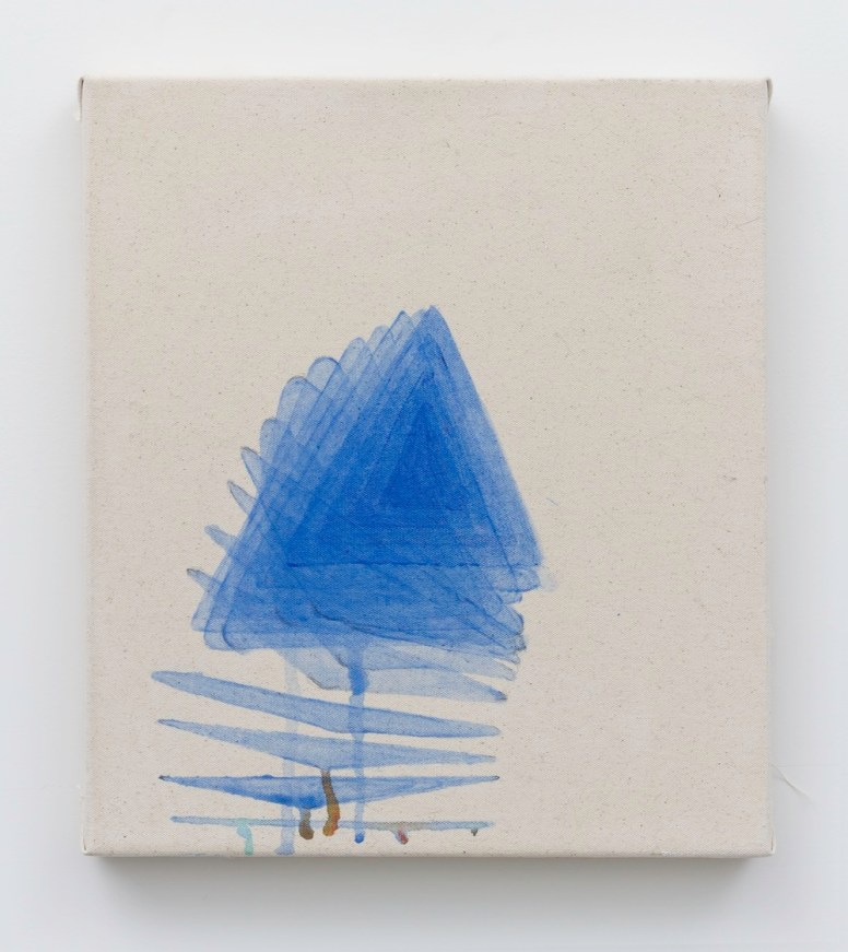 """Natalie Jacobson, """"Self Reproducing Triangle,"""" 2014, acrylic on canvas, 14-by-16 inches."""