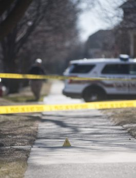 Police cordoned off a home in the 2200 block of Northgate Avenue, where the Feb. 17 incident occurred. (Photo by William Camargo/Staff)