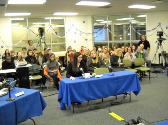 Jill Musil addresses school board members prior to their vote not to rehire her on March 14. (Bob Skolnik|Contributor)