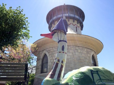 Hauser Junior High students decorated this swan to mimic the Riverside water tower in front of which it proudly sits. | Bob Uphues/Editor