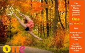 """The Lyons Township High School Eurythmic Dance Company will perform """"One,"""" the annual spring dance concert, May 11, 12 and 13 in the North Campus Reber Center, 100 S. Brainard Ave., LaGrange. The doors open at 6:40 p.m. and the show begins promptly at 7 p.m."""