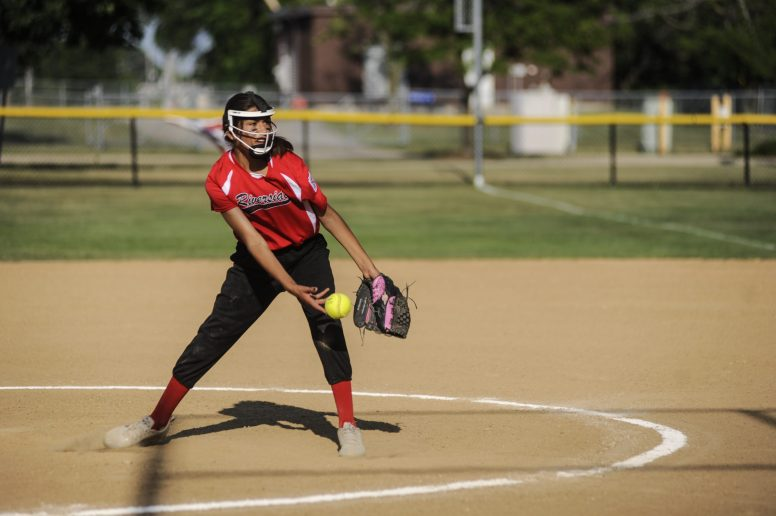 Mia Gonzalez of Riverside Little League's 12-U softball pitches during the game against LaGrange on July 7 at Veterans Park in North Riverside. | William Camargo/Staff Photographer