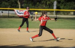 Bryce Pacourek of Riverside Little League's 12-U softball during the game against LaGrange on July 7 at Veterans Park in North Riverside. | William Camargo/Staff Photographer