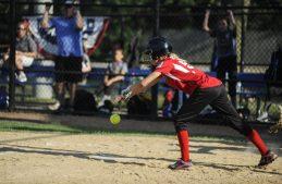 Sophie Ritzler of Riverside bunts during the game against LaGrange on July 7 at Veterans Park in North Riverside. | William Camargo/Staff Photographer