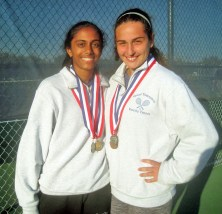 LTHS tennis players Lahari Yelamanchili, left, and Andjelija Bozovic at the state finals tournament where the Lions finished second in the state. | File photo