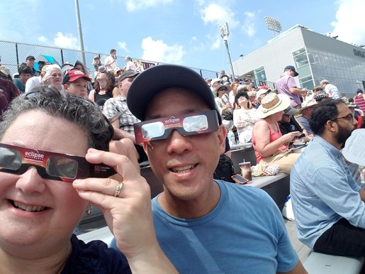 Dan Wang and Darcy Lewis, from Riverside, watched the total eclipse in Carbondale. | Submitted