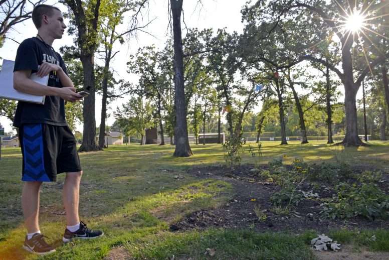 Luke Graham, a senior at Riverside-Brookfield High School, built a rain garden at Kiwanis Park in Brookfield as his Eagle Scout project. | Alexa Rogals/ Staff Photographer