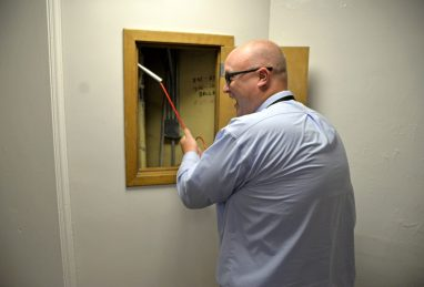 Principal Peter Gatz rings the original bell at dismissal time on Aug. 24, after the first day of school at Central Elementary School in Riverside. | Alexa Rogals/Staff Photographer