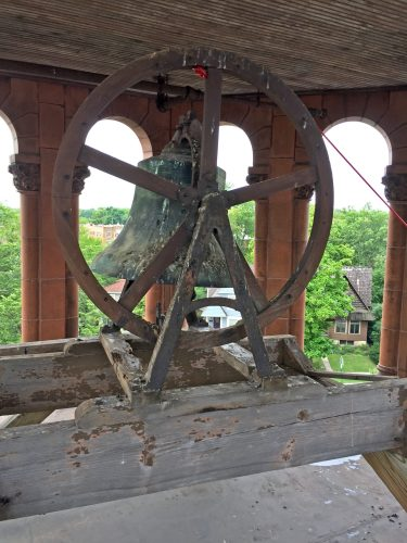 The original bell is pictured in the bell tower at Central Elementary School in Riverside. | Photo by Bill Sherman
