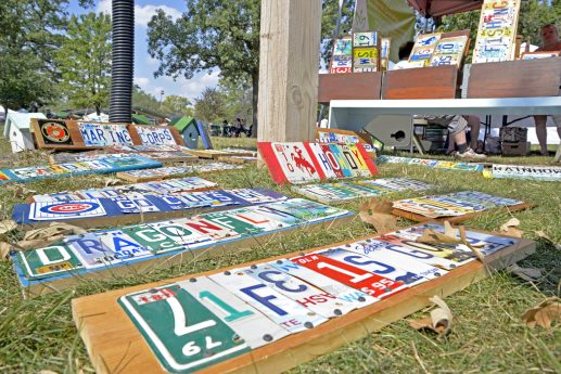 Art pieces are set out for sale during the Fine Arts Fest at Kiwanis Park. | Alexa Rogals/Staff Photographer