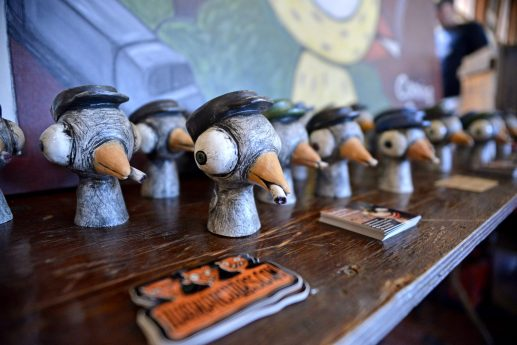 Ceramic sculptures are displayed for sale on Sept. 30, during the annual HopStop Craft Beer Festival at the train station station in Riverside. | Alexa Rogals/Staff Photographer.
