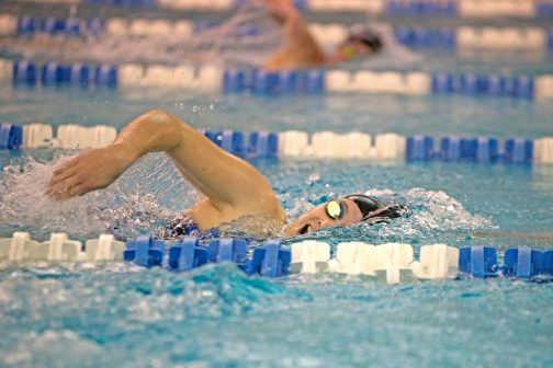 RB's varsity swimmer Alyssa Schwarz competes in the 200-yard individual medley on Thursday, Oct. 12, 2017, during a girls swim meet against Chicago Latin at Riverside Brookfield High School. (Alexa Rogals/Staff Photographer)