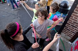 Students grab pieces of duct tape on Oct. 20, at Central Elementary School in Riverside. | Alexa Rogals/Staff Photographer