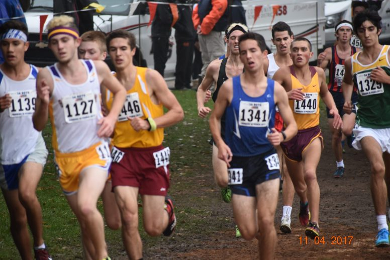 RBHS senior Jacob Wardzala (#1341), who earned an All-State medal with a top-25 finish, recorded the Bulldogs' fastest time at 15 minutes, 16 seconds to finish 22nd in the individual standings of the Class 2A state meet. (Photo by John Keen)