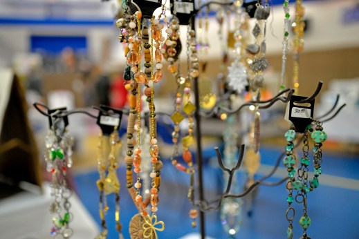 Handmade jewelry is displayed for sale from the Designs By Diane booth on Nov. 4, during the annual Holiday Bazaar at the Village Commons on Des Plaines Avenue in North Riverside. | Alexa Rogals/Staff Photographer