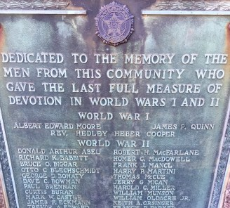 The large boulder bearing plaques containing names of Riverside residents who died while serving the nation in conflicts during the 20th century was dedicated in 1948, after World War II. The original monuments commemorating three who died during World War I were dedicated in the park in 1921. (Photo by Bob Uphues/Staff)