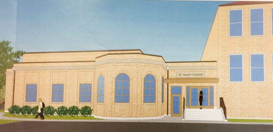 Rendering of the new office addition to the east side of the church/school complex. | PROVIDED
