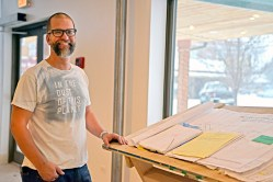 The Rev. Karl Sokol will open The Compassion Factory art gallery/studio for its inaugural art exhibition this weekend at 9210 Broadway Ave. in Brookfield. He's also seeking to use the gallery as a worship space on Sundays, but needs a special permit to do so, according to the village's code. | Alexa Rogals/Staff Photographer