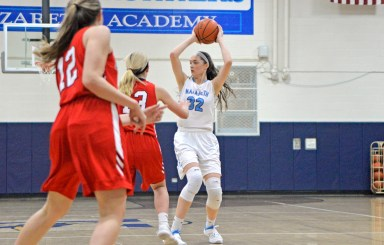 Nazareth 6-foot-4 center Alyssa Geary is an exceptionally versatile player. The Providence recruit is averaging 17 points, 11 rebounds and 6 blocks for the Roadrunners. (Alexa Rogals/Staff Photographer)
