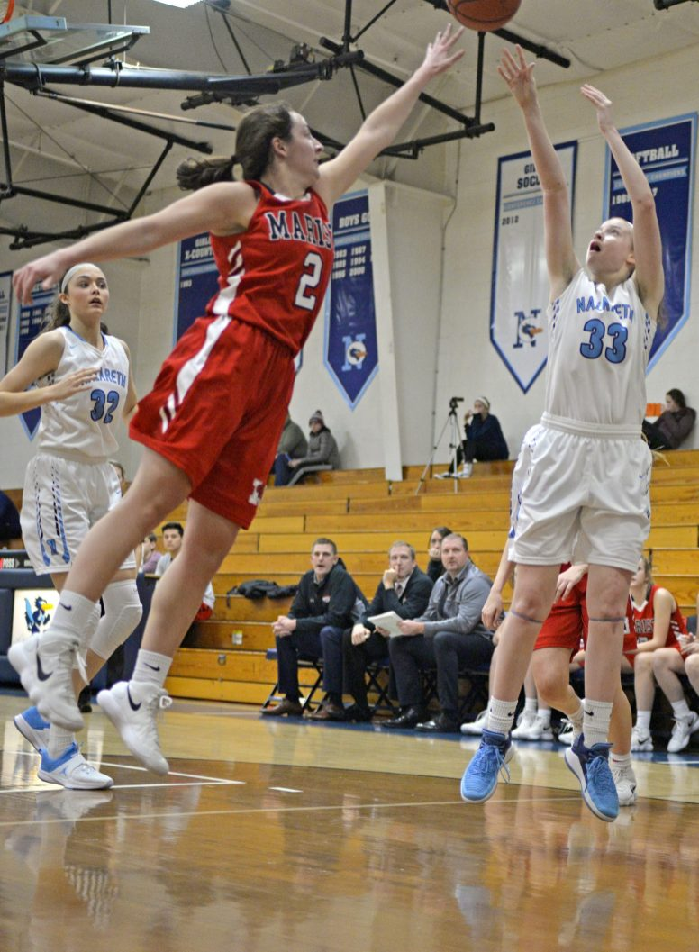 Nazareth junior Annie Stritzel averages 25 points, five rebounds, three assists and four steals for the Roadrunners. (Alexa Rogals/Staff Photographer)