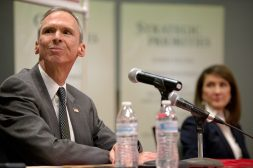Congressman Dan Lipinski listens to questions asked from guests on Feb. 21, during a 3rd congressional district candidate debate at Moraine Valley Community College in Palos Hills. | Alexa Rogals/Staff Photographer